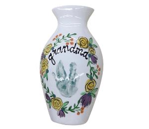 Long Beach Floral Handprint Vase